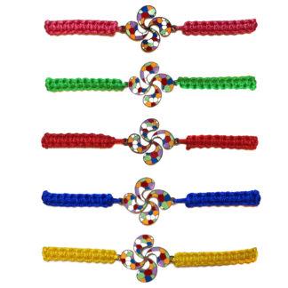 Pulsera Lauburu mix de Colores cordón textil disponible en varios colores